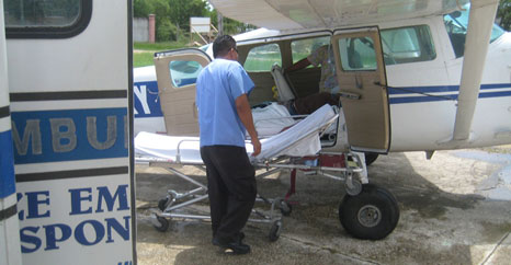Patient transfer at Belize Municipal Airstrip